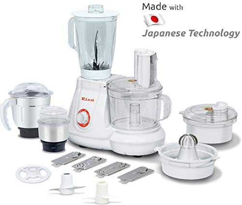 Rico All in One Food Processor with Coconut Scraper, Juicer, Blender Jar, Unbreakable Bowl, 3 Flow Breaker Jars