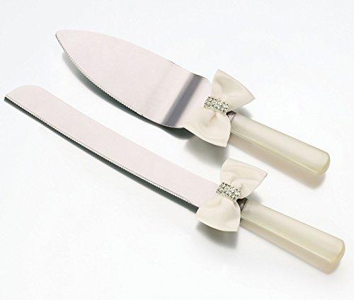 Lillian Rose Knife Set - Lillian Rose Rhinestone Jewel Bow Wedding Cake Knife Server