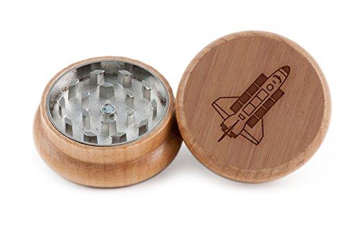 GRINDCANDY Spice And Herb Grinder - Laser Etched Nasa Design - Manual Oak Pepper Grinder by GrindCandy