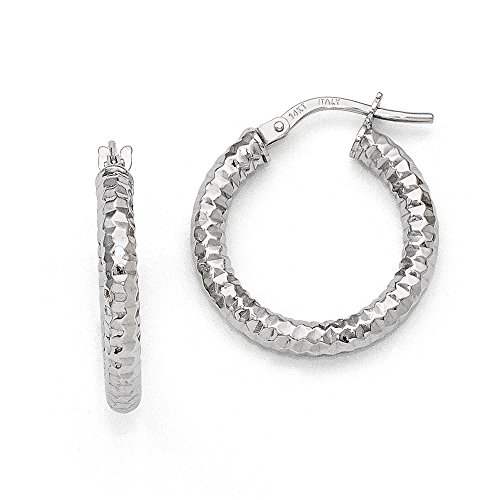3mm Textured Round Hoop Earrings in 14k White Gold, 20mm (3/4 Inch)