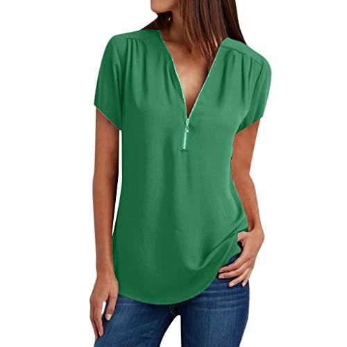 Beautyfine Womens Tees, Beautyfine Casual Short Sleeve Tops Shirt V Neck Zipper Loose T-Shirt Blouse Green]()