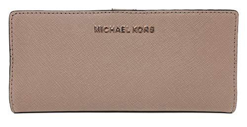 - Michael Kors Jet Set Travel Flat Slim Bifold Saffiano Leather Wallet (Dark Khaki)
