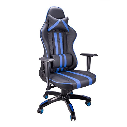 41%2BKfhNsjSL - CO-Z-Ergonomic-Adjustable-High-Back-Headrest-Swivel-Pillow-Waist-Lumber-Support-PC-Gaming-Adult-Extra-Thick-Chair-Blue
