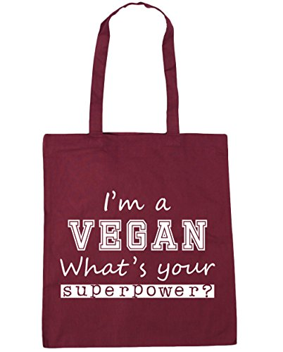 Tote Shopping 10 HippoWarehouse What's Bag A Your Beach x38cm I'm Vegan Burgundy Gym Superpower litres 42cm HxY0qOFYw