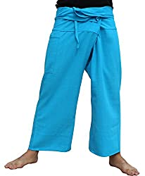 RaanPahMuang Brand Plain Thick Line Cotton Thai Fisherman Wrap Pants, Small, Red
