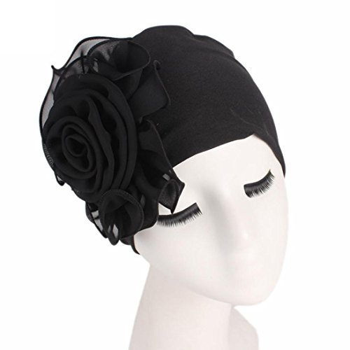 (Botrong Women Ladies Retro Big Flowers Hat Turban Brim Hat Cap Pile Cap (Black))