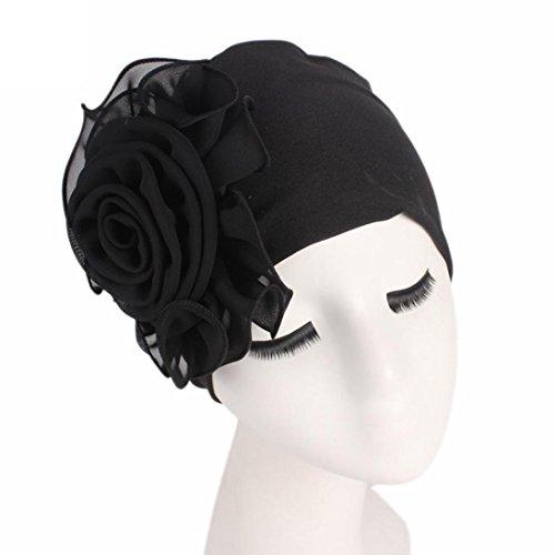 Botrong Women Ladies Retro Big Flowers Hat Turban Brim Hat Cap Pile Cap (Black)