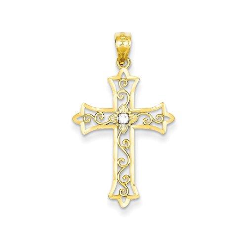 14k Yellow Gold Diamond Cross (Brilliant Diamond Cross Pendant)