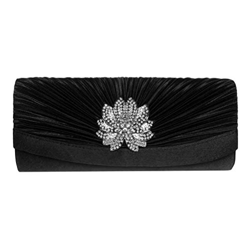 Mobile Womens Edge Collection (FASHIONROAD Evening Clutch, Womens 3D Floral Rhinestone Pleated Clutch Purses For Wedding & Party Black)