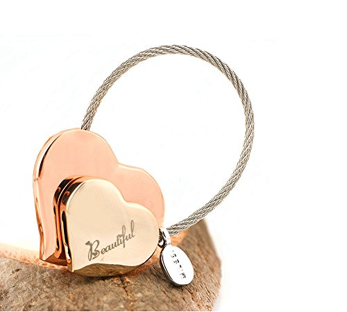 MILESI Heart to Heart Metal Keychain of Love for Women Sweet Couples Gift (Rose gold-light gold) by MILESI (Image #1)