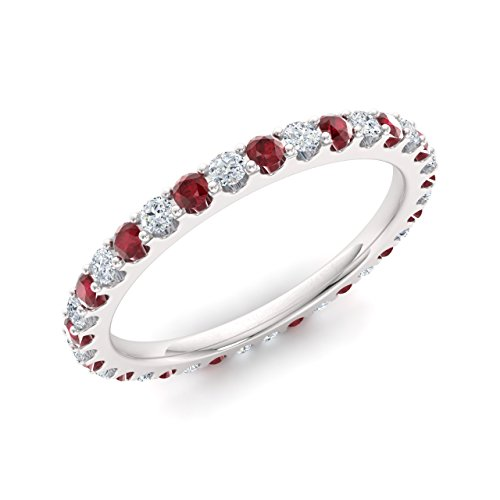 Diamondere Natural and Certified Ruby and Diamond Wedding Ring in 14K White Gold | 0.87 Carat SI1-SI2 Quality Full Eternity Stackable Band for Women, US Size (Ruby Diamond Eternity Bands)
