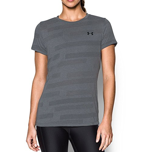 Train Crewneck (Women's Under Armour Threadborne Train Short Sleeve Crew Neck Jacquard, Rhino Grey, MD (US 8-10))