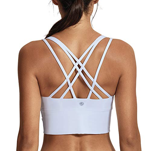 CRZ YOGA Women's Medium Support Strappy Back Wirefree Removable Cups Longline Yoga Sports Bra White XS