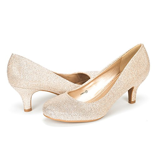 DREAM PAIRS Women's Luvly Gold Bridal Wedding Low Heel Pump Shoes - 8.5 M US