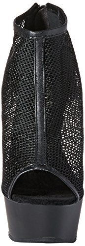 M Black Faux Matte Black Women's 12 BPU Leather Fishnet Boot DEL600 Pleaser qYwpgxtq