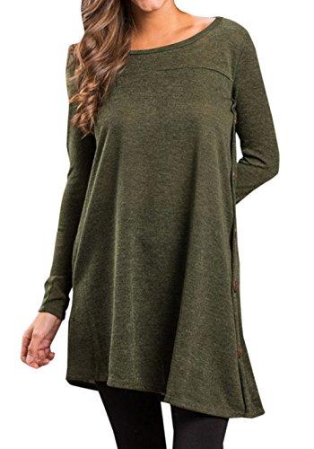 JackenLOVE et Fashion Manches Col Automne Casual Shirts Jumpers Printemps Tees Tunique Tops Pulls Femmes Blouse Rond T Longues Arme Verte Long Hauts rwqrY