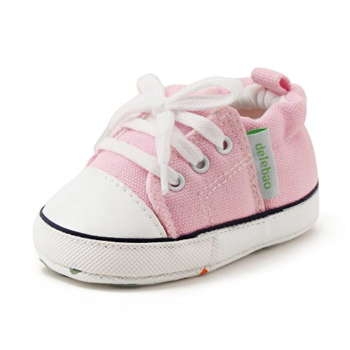 Delebao Baby Soft Soled Canvas Anti-skid Infant Toddler Sneaker Shoes (0-6 Months, (Toddler Infant Soft Pink Shoes)
