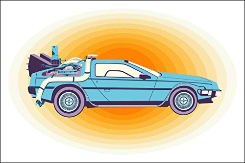 Plaid Design Back to The Future/Delorean (V2) Fine Art Print - 20x30 - Signed/Numbered Limited Edition Pop Art Giclée - Artwork by John Lathrop Ed Hand Numbered Fine Art