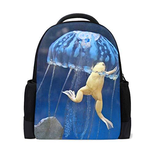 - YYZZH African Albino Frog In Jellyfish Underwater Marine Ocean Backpack School Bag Travel Hiking Camping Daypack