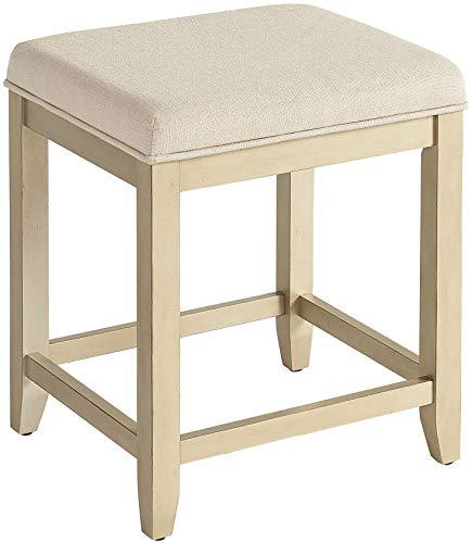 Vanity Linen - Crosley Furniture CF7007GL-CR Vista Vanity Stool, Distressed Gold with Crème Linen Seat
