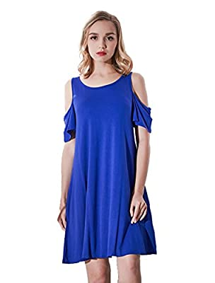Women's Summer Cold Shoulder Loose Casual Swing T-shirt Dress With Pockets