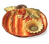 Pumpkin Shape Chip & Dip Plate Featuring Sunflower Dish