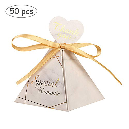 Pannow 50 Pack Triangular Pyramid Marble Candy Boxes with Thank You Card, Wedding Gift Boxes Paper Candy Boxes Sweet Party Favour Decorative Treats Boxes with Ribbon