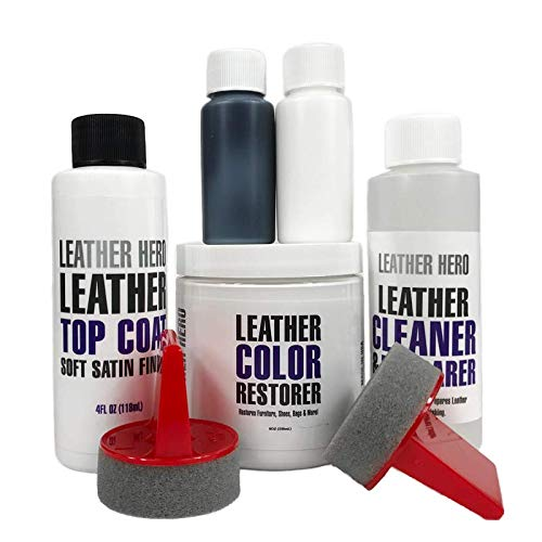 Leather Hero Leather Color Restorer Complete Repair Kit- Refinishes & Renews Faded Leather & Vinyl Sofas, Purses, Shoes, Auto Car Seats, Couches 8oz (Cream) ()