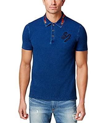 Sean John Mens Denim Rugby Polo Shirt