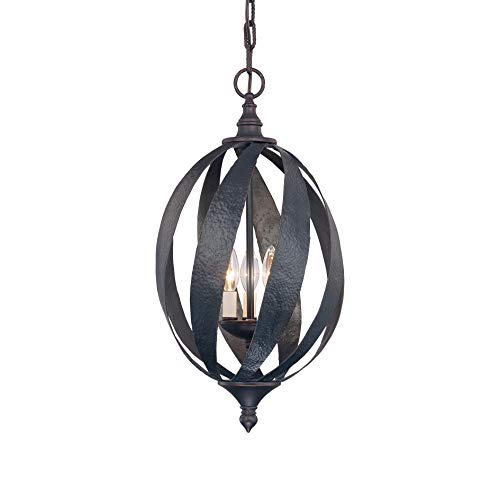 (Savoy House 3-225-3-25, Carmel 3-Light Open Foyer, Slate, Hammered Rustic Iron)