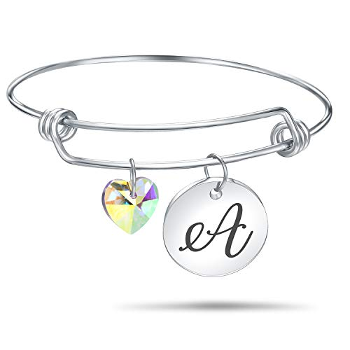 4MEMORYS Initial Alphabet Bracelet Letter Engraved Stainless Steel Material with Heart Crystal Personalized Charm Bangel Jewelry