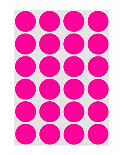 ChromaLabel 3/4 inch Color-Code Dot Labels on Sheets | 1,008/Pack (Fluorescent Pink) -