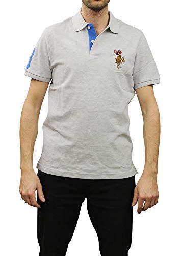 U.S. Polo Assn. Men's Short-Sleeve Pique Polo Shirt with Multi-Color Pony Logo, Light Grey-3403, X-Large ()