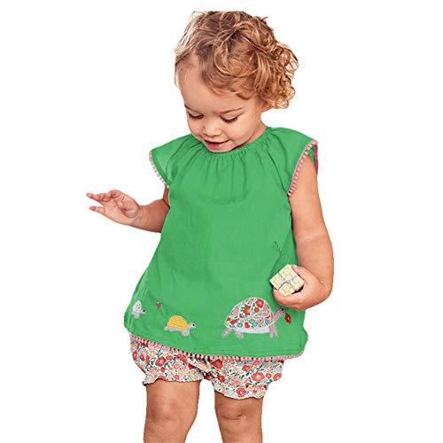 HILEELANG Toddler Baby Girls Casual Cotton T-Shirt Shorts Set Outfits Kids ()
