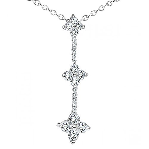 "0.75 Carat G-H Diamond Fancy Journey Pendant Necklace With 18"" Chain 14K White Gold"