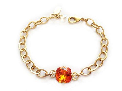 Clara Beau Radiant 12mm Fancy Swarovski crystal Bracelet BY68 GoldTone - FireOpal -