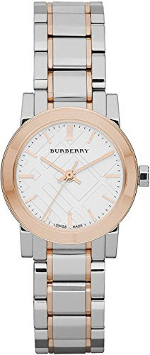 Burberry White Dial Rose Gold Ion-plated Bezel Ladies Watch BU9205