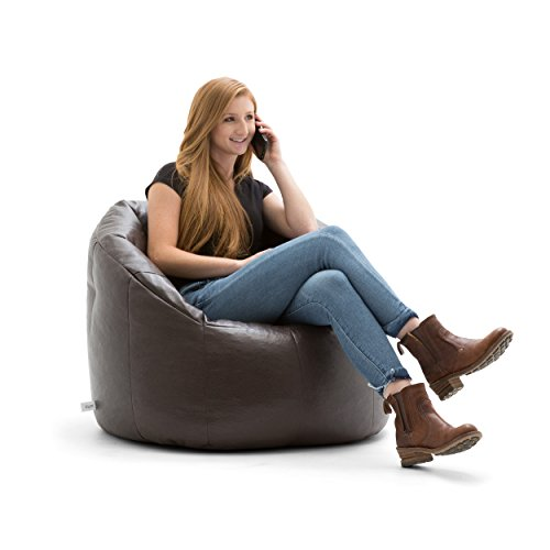 Big Joe Lux Milano in Vegan Leather, Brown (Bean Bag Leather Faux Chairs)