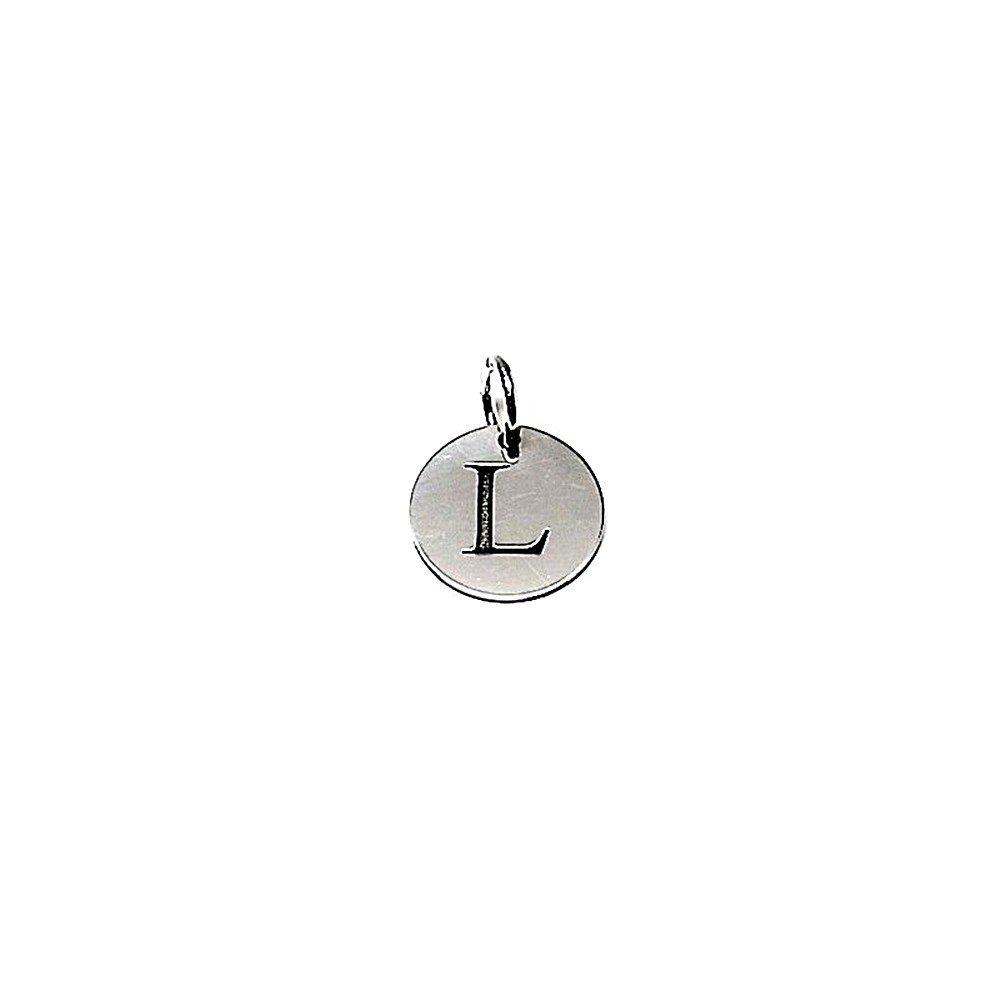 AA7761 Colgante plata ley 925m liso 12mm disco letra L asa abierta