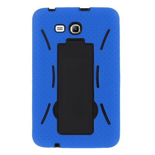 (Galaxy Tab E 8.0 Case by kiq Heavy Duty Hybrid Silicone Skin Hard Plastic Case Cover for Samsung Galaxy Tab E 8.0 T377 (Black/Blue))