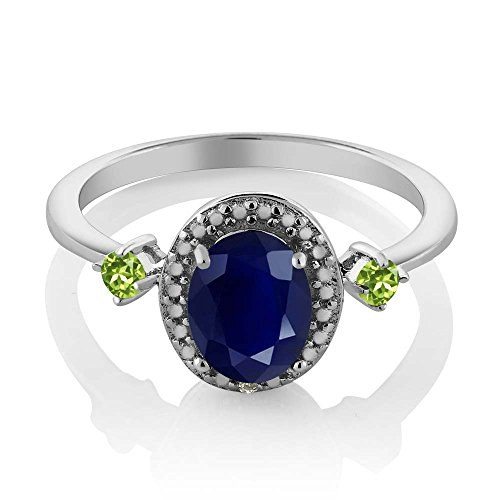 Gem Stone King 1.94 Ct Oval Blue Sapphire Green Peridot 925 Sterling Silver Ring With Accent Diamond Available 5,6,7,8,9