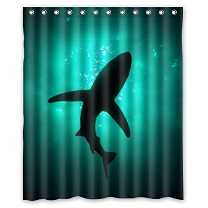 Eco Friendly Abstract Sea Shark Silhouette Ocean Animal Fish Printed Fabric Shower Curtain Polyester Waterproof Bathroom