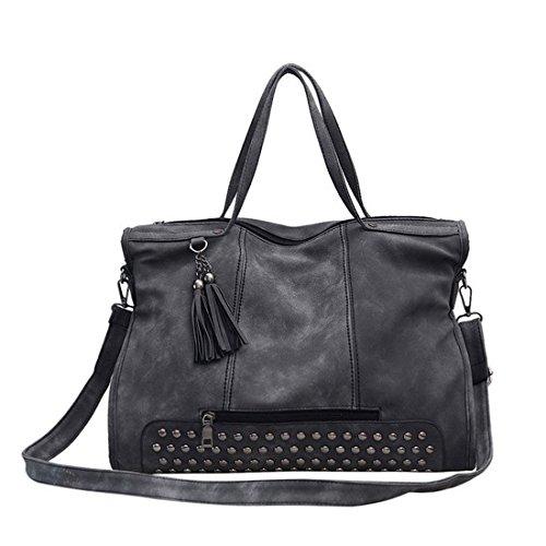 Haihuayan Bag Women Handbags Female Messenger Bag Tassel Rivet Pu Hand Bag Crossbody Large Capacity Bag Dark Gray Dark Gray