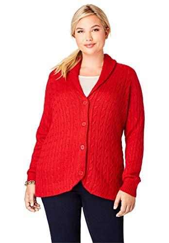 Jessica London Women's Plus Size Cable Blazer Sweater - Bright Ruby, - Ruby Blazer Red
