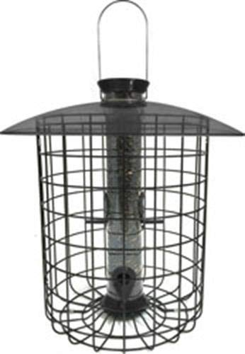 Droll Yankees Squirrel Proof Bird Feeder, Sunflower Domed Caged Bird Feeder SDC-B, 15 Inch, 1 Pound Seed Capacity, 4 Ports, Black