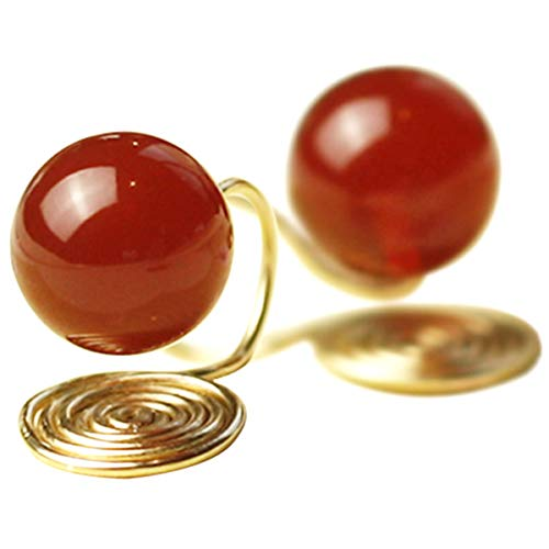 OwMell 8mm Red Garnet Stone Clip on Earrings 925 Sterling Silver Mosquito Coils Stud Earrings for Non-Pierced Ears