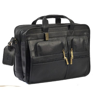 Claire Chase Italian Leather Matte Briefcase, Black, One (Black Italian Briefcase)