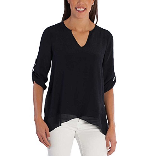 Fever Ladies' Roll Tab Blouse (S, (Night 60 Tabs)