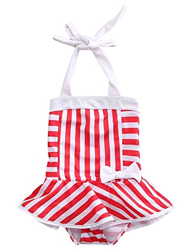 ebe69227703 Velour Shoppe Kids Girls Swim 1 Piece Bikini Suit Halter Neck Red & White  Stripes Cartoon