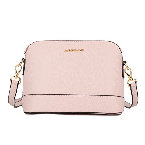Crossbody Bags for Women, Lightweight Purses and Handbags PU Leather Satchel with Adjustable Strap and Golden Hardwares (Pink - With Satchel Small Strap